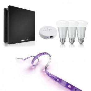 Box domotique Somfy Box  + Pack de 3 ampoules LED connectées Philips Hue + Ruban LED connecté Philips Hue