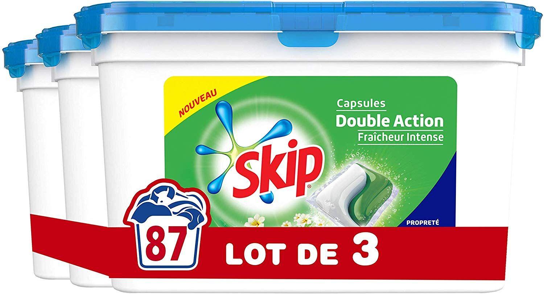 [Panier Plus] 3 boites de capsules Lessive Skip Duo Fraîcheur Intense (87 Lavages)
