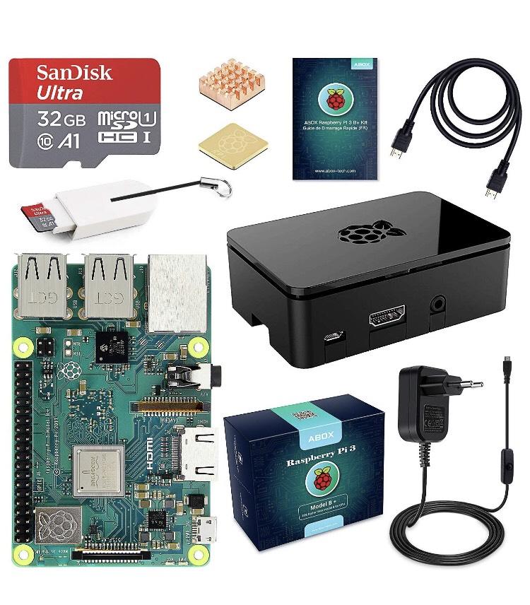 Kit Starter Abox Raspberry Pi 3 Modèle B Plus (3 B+) - MicroSD SanDisk 32 Go, Alimentation 5V 3A + Boîtier Noir (Vendeur tiers)