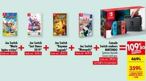 Pack console Nintendo Switch + Mario & Les Lapins Crétins + Just Dance 2019 + Rayman Legends + Monopoly
