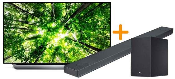 """Pack TV 65"""" LG 65C8PLA (4K UHD, HDR, OLED, Smart TV) + barre de son LG SK10Y + pied pour écran LG TK10"""