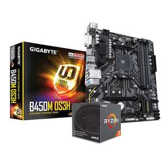 Processeur AMD Ryzen 5 2600 + Carte mère Gigabyte B450M DS3H