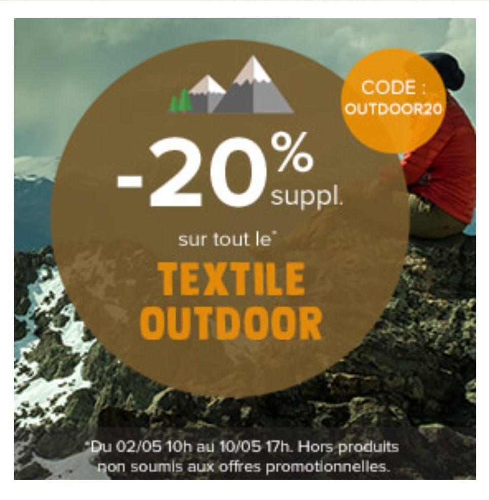 20% de réduction supplémentaire sur textile outdoor