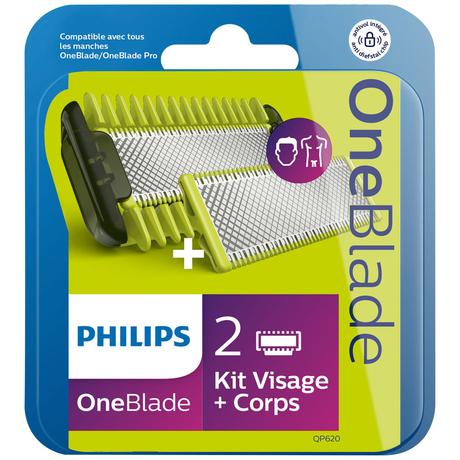 Pack de 2 Lames Philips Oneblade kit visage et corps QP620/50