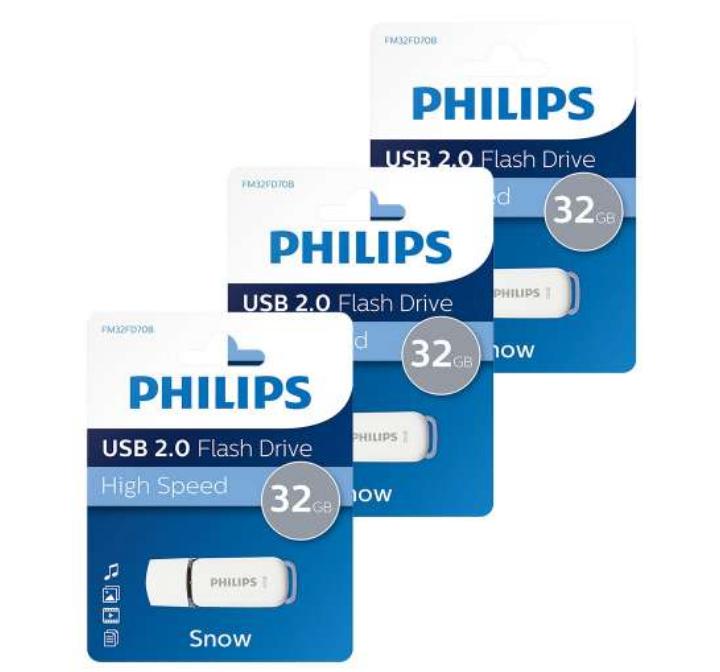 Lot de 3 clés USB 2.0 Philips Snow