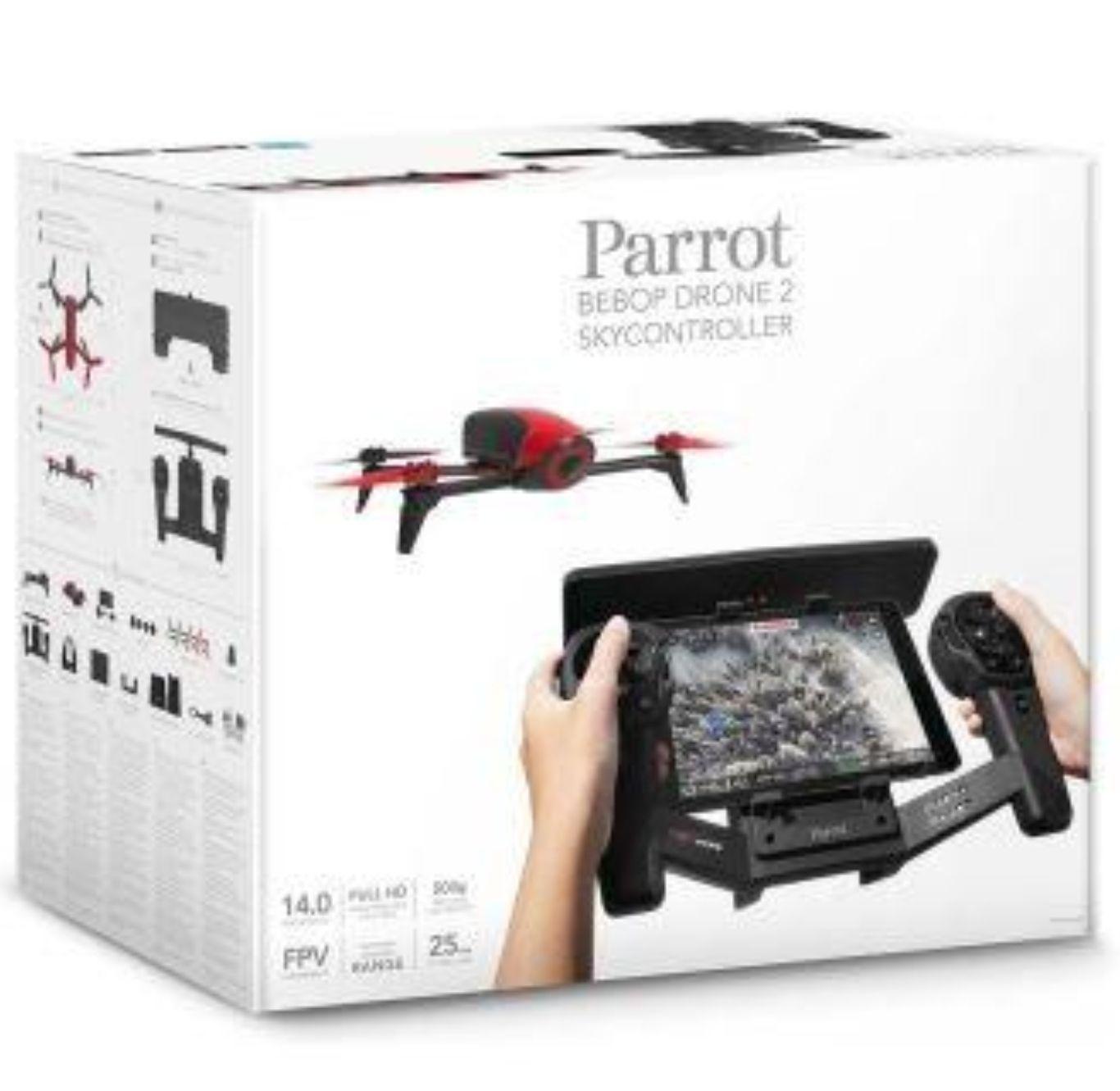 Drone Parrot Bebop 2 Rouge + Skycontroller + Cintre à pinces