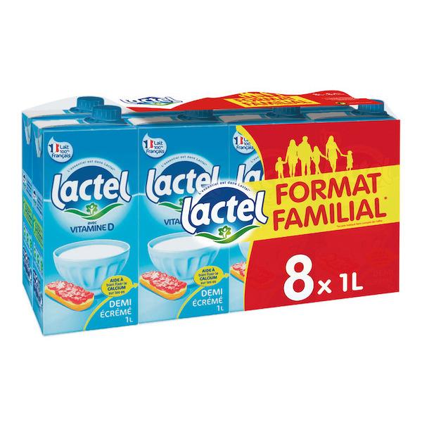 Lot de 2 packs de Lait Lactel U.H.T Demi-écrémé - 8x1L - soit 0.60€/L