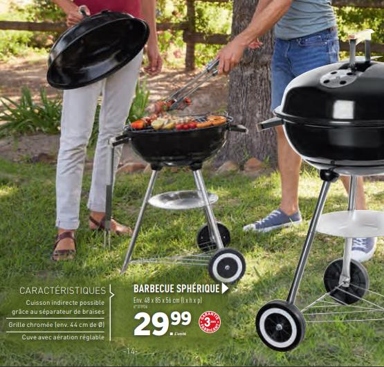 Barbecue grill chromée 44 cm - 48 x 85 x 56 cm