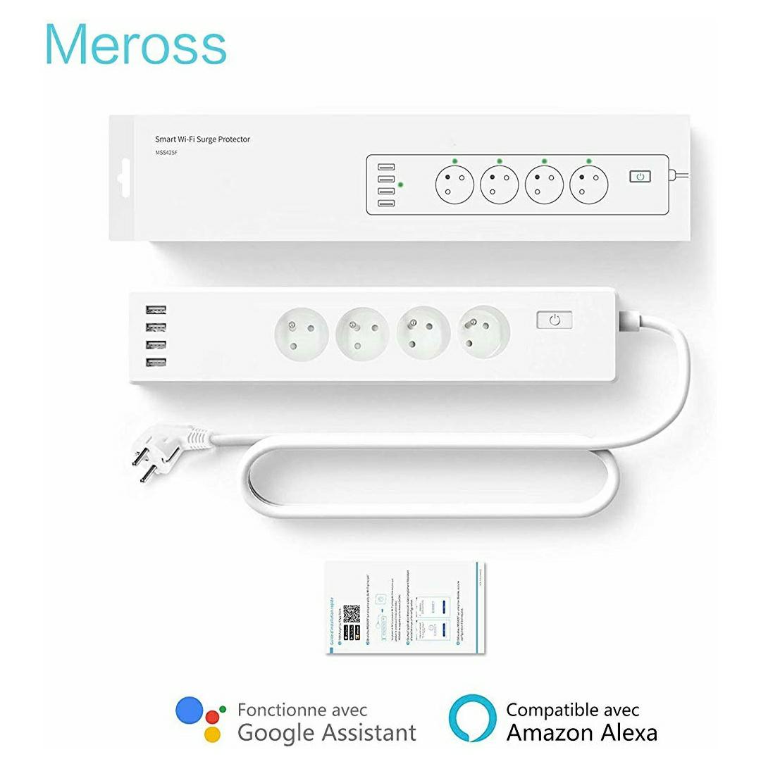 Multiprise intelligente Meross - 4 sorties EU, 4 ports USB, Compatible Alexa et Google Home (Vendeur tiers - Expédié par Amazon)