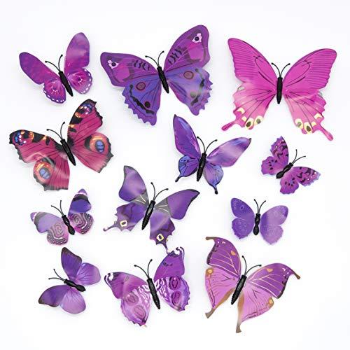 Lot de 12 stickers muraux Papillons 3D - Violets (Vendeur tiers)