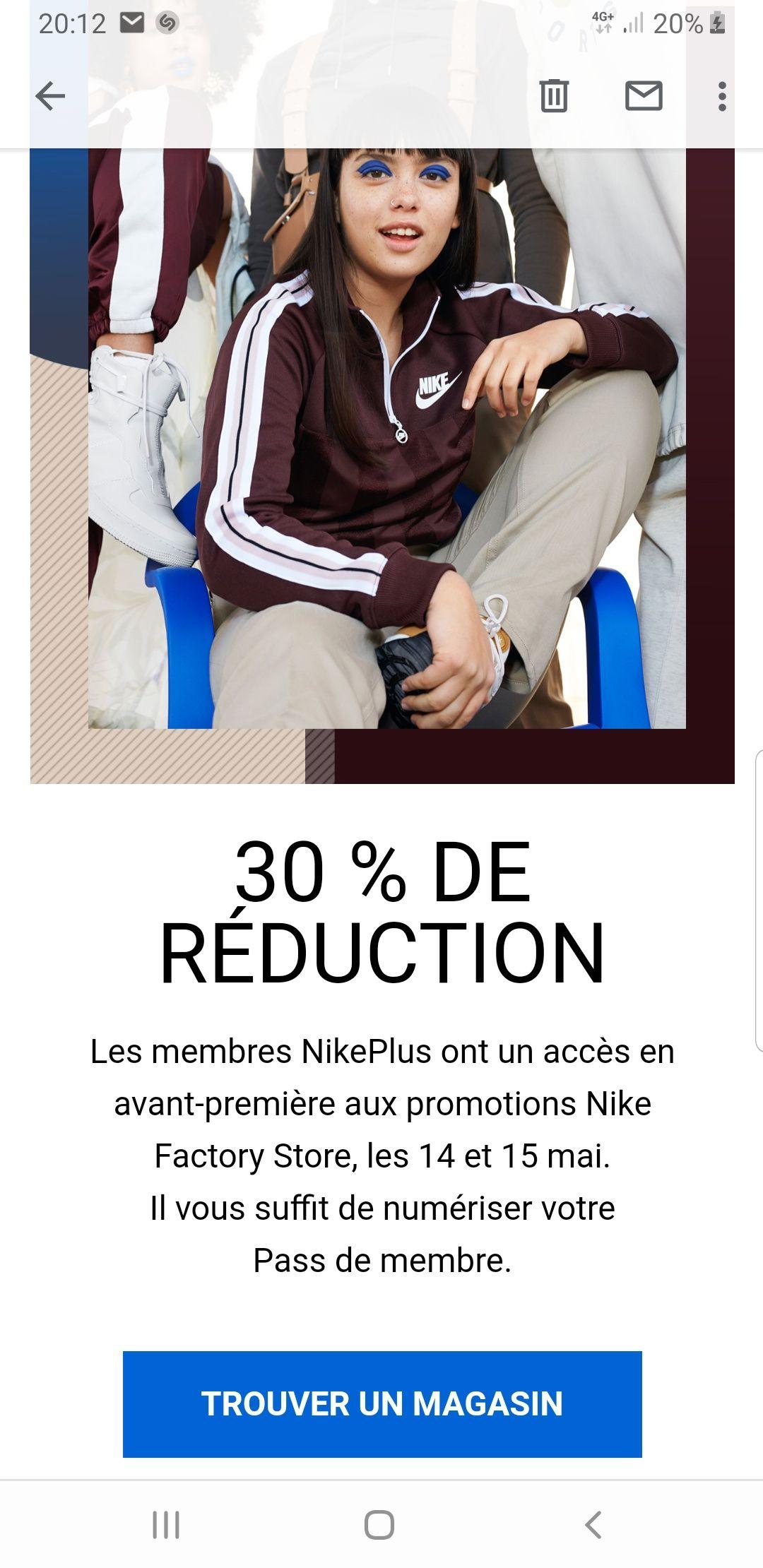 [Membres Nike+] 30% de réduction dans les magasins Nike Factory Store