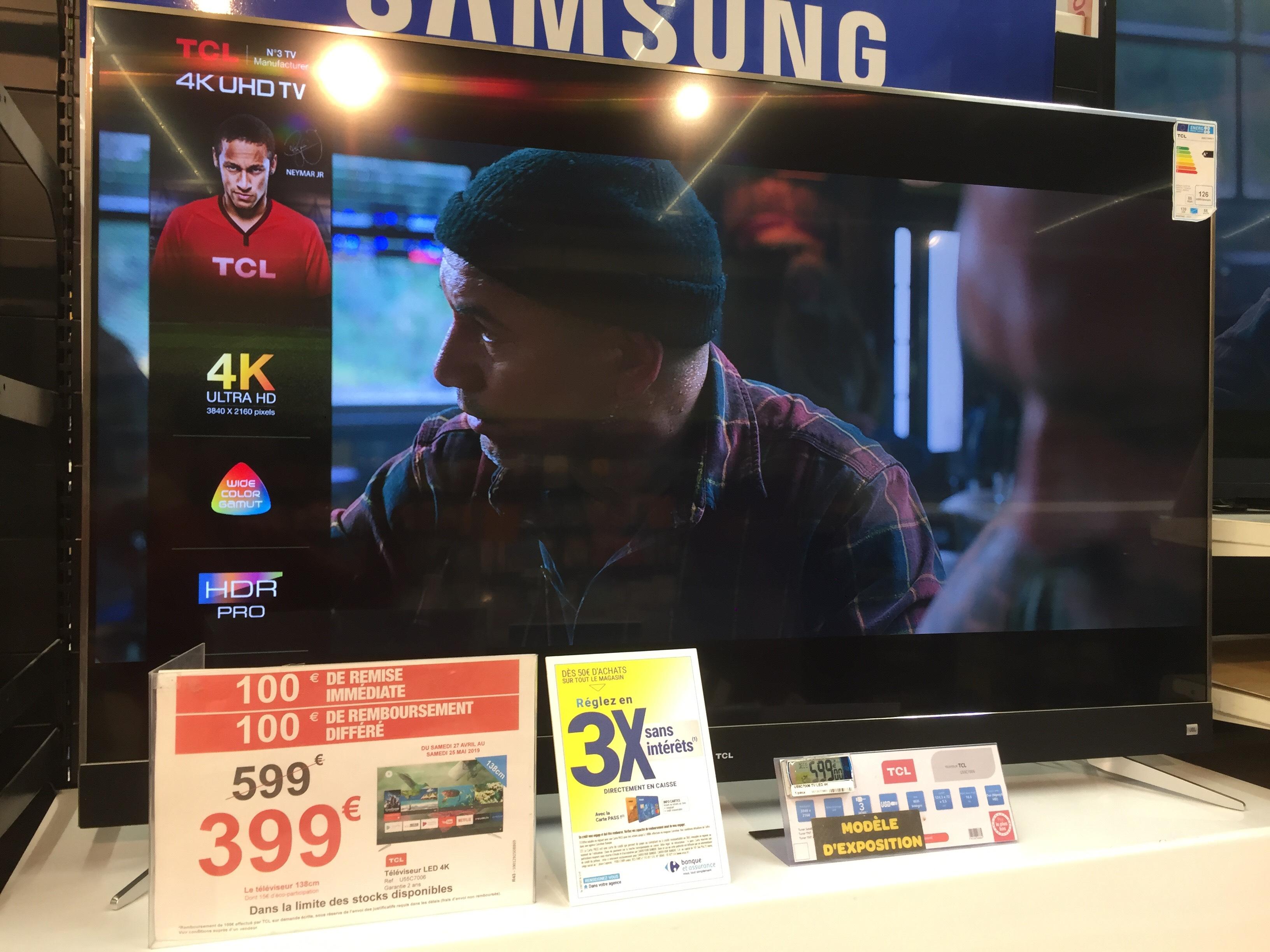 "TV 55"" TCL U55C7006 - 4K UHD, Led, Android TV (Via ODR 100€) - Beauvais (60)"