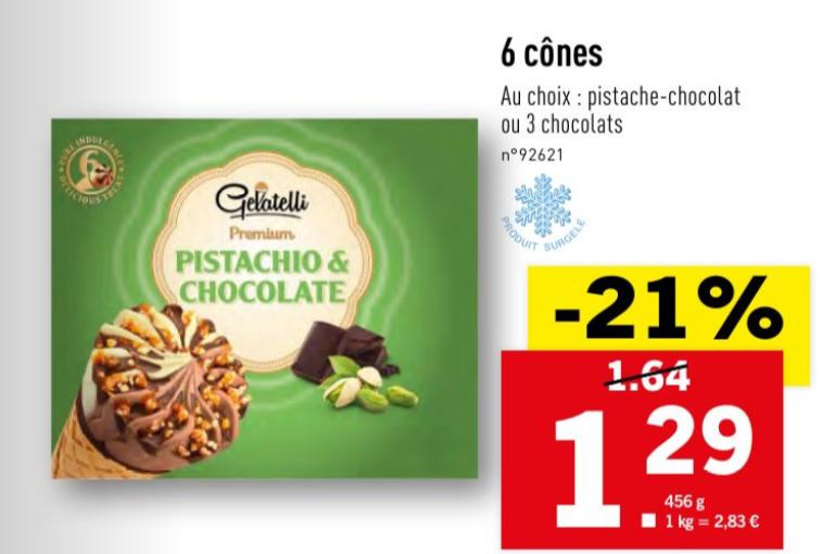 Lot de 6 cônes de glace Gelatelli - Pistache-Chocolat ou 3 chocolats