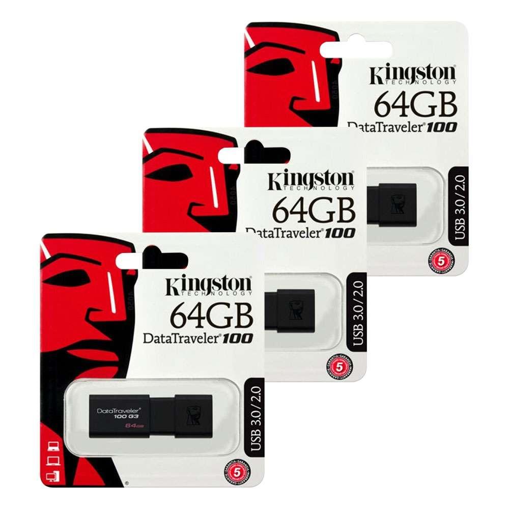 Lot de 3 clés USB 3.0 Kingston  Data Traveler 100 G3 - 64Go