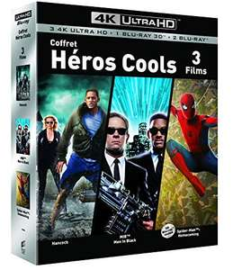 Coffret Blu-Ray UHD 4K / 3D / 2D Super-Héros - Hancock + Spider-man : Homecoming + Men in Black