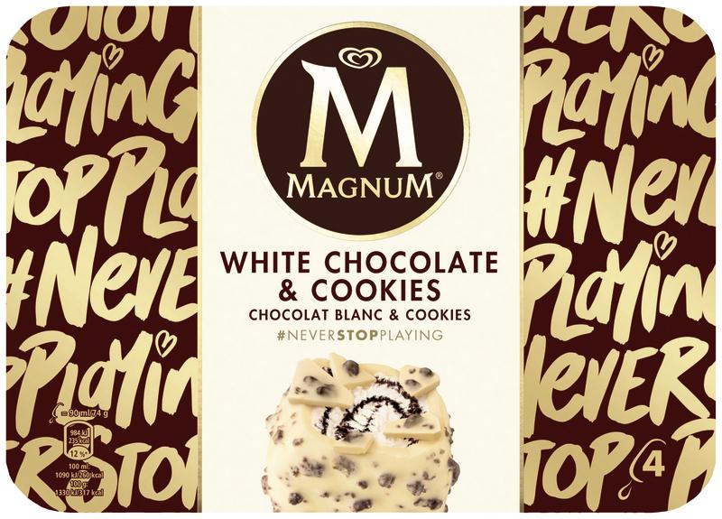 Paquet de 4 Glaces Magnum White Chocolate & Cookies  - 296g