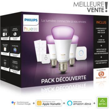 Pack Philips Hue - 3 ampoules White & Colors E27 + 2 interrupteurs Dimmer + pont de connexion