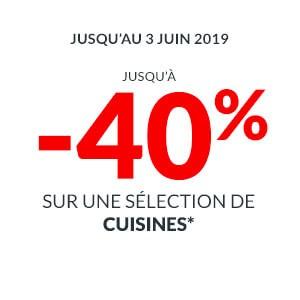 Jusqu'à 40% de réduction sur une sélection de cuisines But + pose offerte sur les modèles Signature / Signature Exclusive