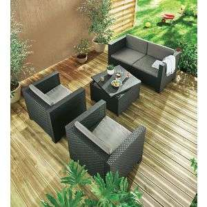 Salon de Jardin Diva Confort - 1 Canapé (2 Places) + 2 Fauteuils + 1 ...