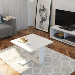Table basse carrée style contemporain Boom - 60x60x36 cm, blanc mat
