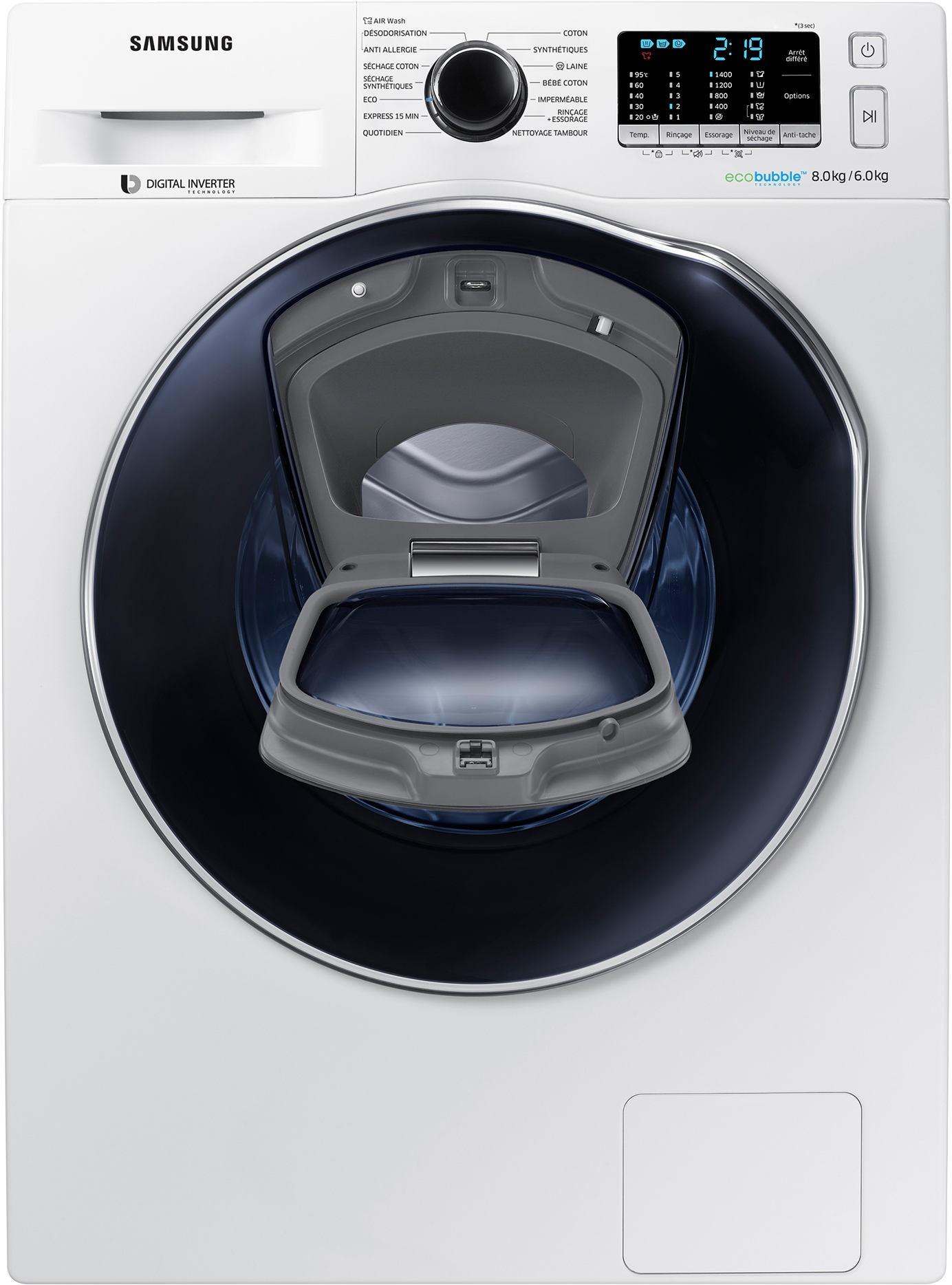 lave linge s chant samsung addwash wd80k5b10ow ecobubble. Black Bedroom Furniture Sets. Home Design Ideas