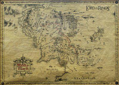 Carte sur parchemin du seigneur des anneaux (grand format)