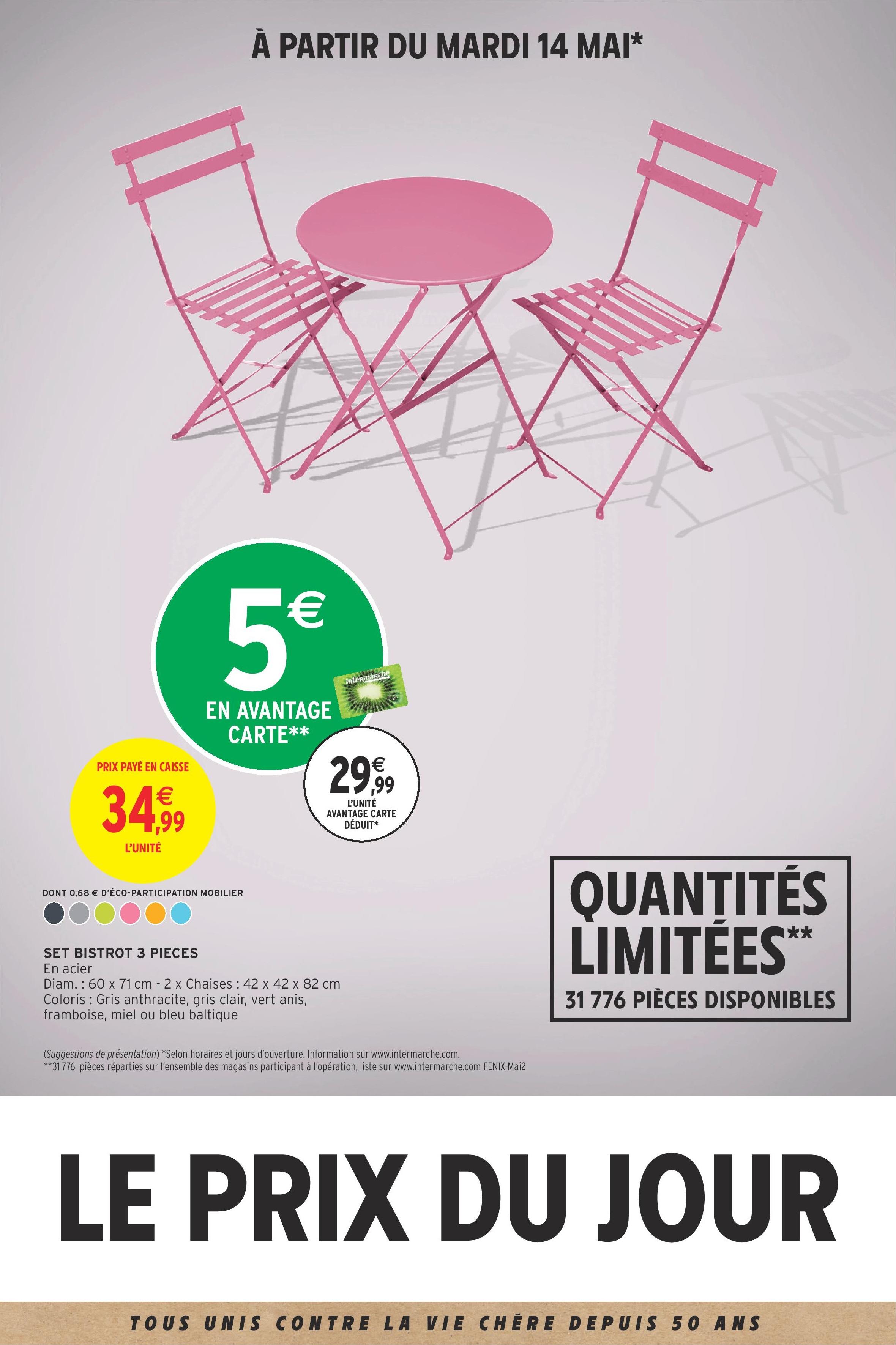 Set bistrot table 60x71 cm + 2 chaises (via 5€ sur la carte fidélité)