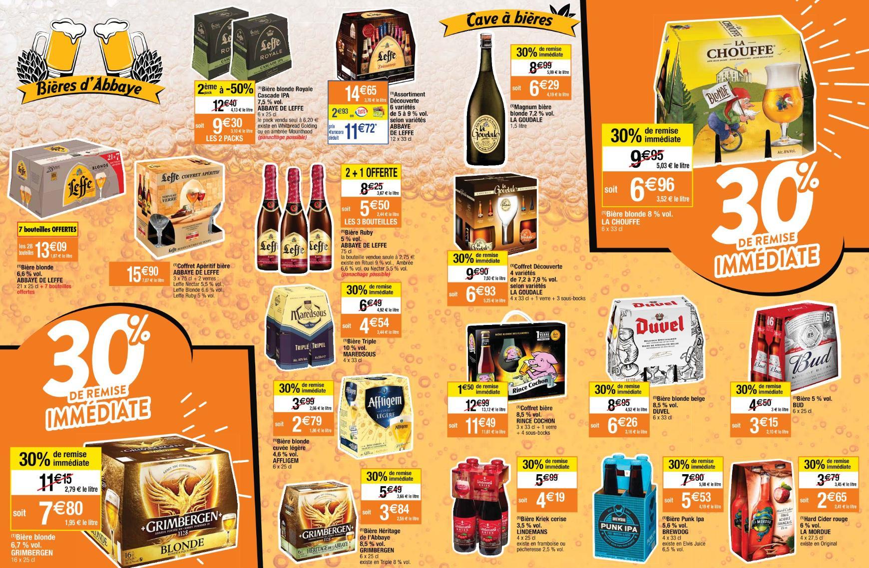 Sélection de bières en promotion  - Ex: PAck de 6 bières blonde Duvel (6x33cl)