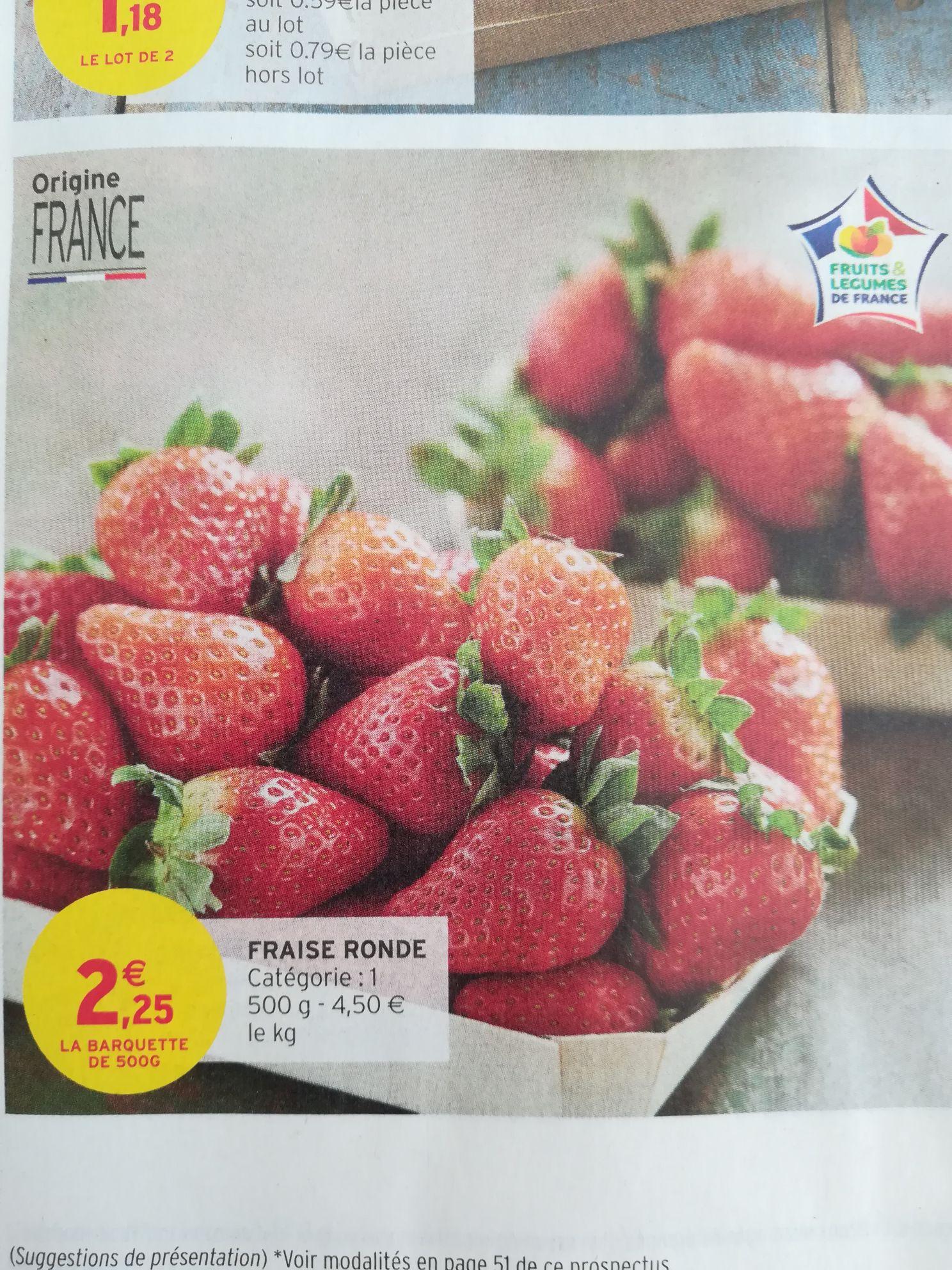 Barquette de fraises ronde - Origine FRANCE, 500g