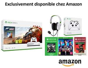 Pack Console Xbox One S Forza Horizon 4 + Casque Turtle Beach Recon 50x White + Manette Xbox One Blanche + FIFA 19 + Gears of Wars 4