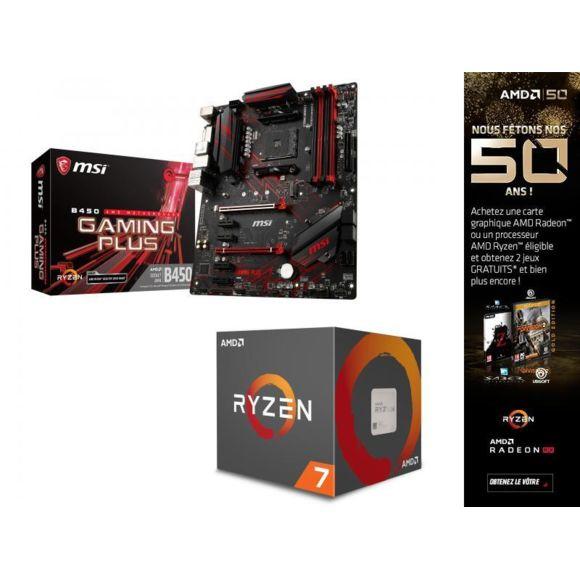 Combo Processeur AMD Ryzen 2700 + Carte Mère MSI B450 Gaming Plus + The Division 2 et World War Z offerts