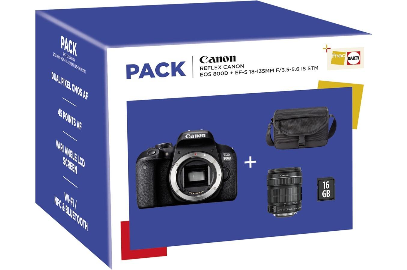 Appareil Photo Numérique Reflex Canon EOS 800D + Objectif EF-S 18-135 mm f/3.5-5.6 IS STM + Fourre-tout + Carte SD 16 Go (Via ODR de 50€)