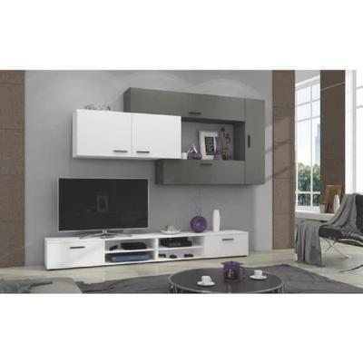 Ensemble meuble TV Contemporain mélaminé blanc et gris Jive : 2 Meubles bas + 4 rangements muraux avec une étagère