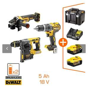 Coffret d'outils DeWalt - meuleuse + perceuse à percussion + perforateur-burineur + 2 batteries (5.0 Ah) + chargeur