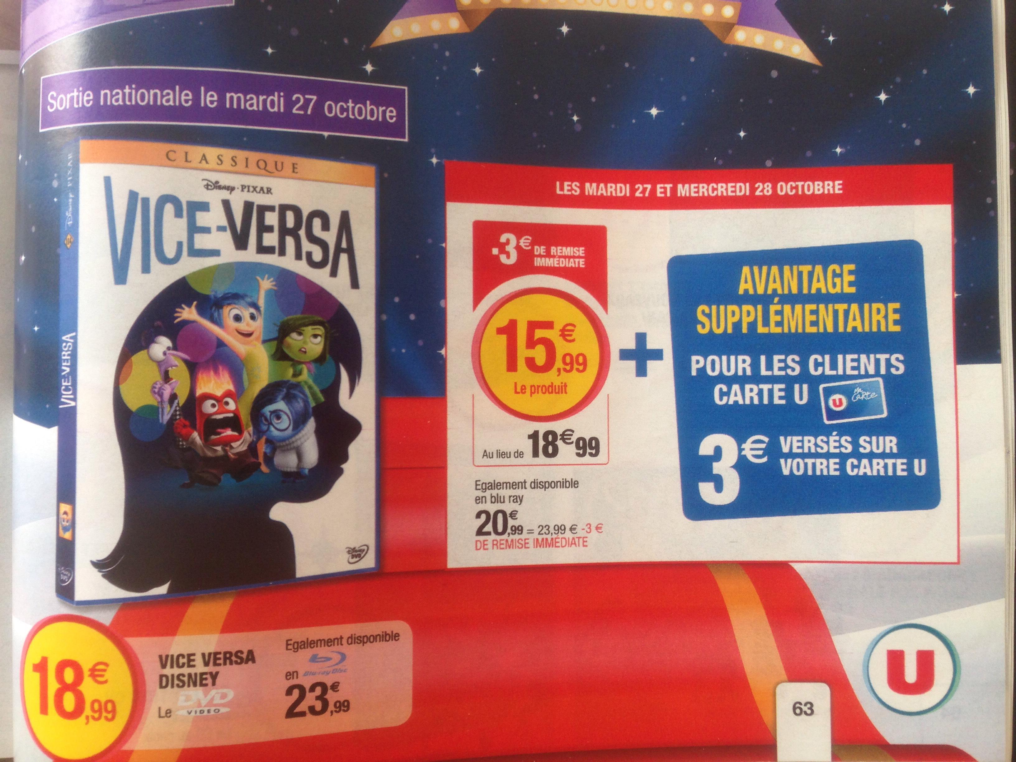 DVD Vice-Versa à 12.99€ et Blu-Ray Vice-Versa (déduction faite des 3€ sur la carte U)