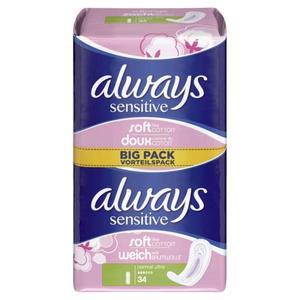 Paquet de 34 serviettes hygiéniques - Always Douceur Normal