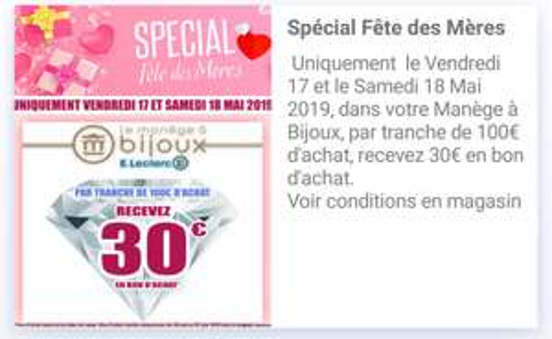 30€ offerts en bon d'achat par tranche de 100€ - Manège à bijoux Clichy (92)