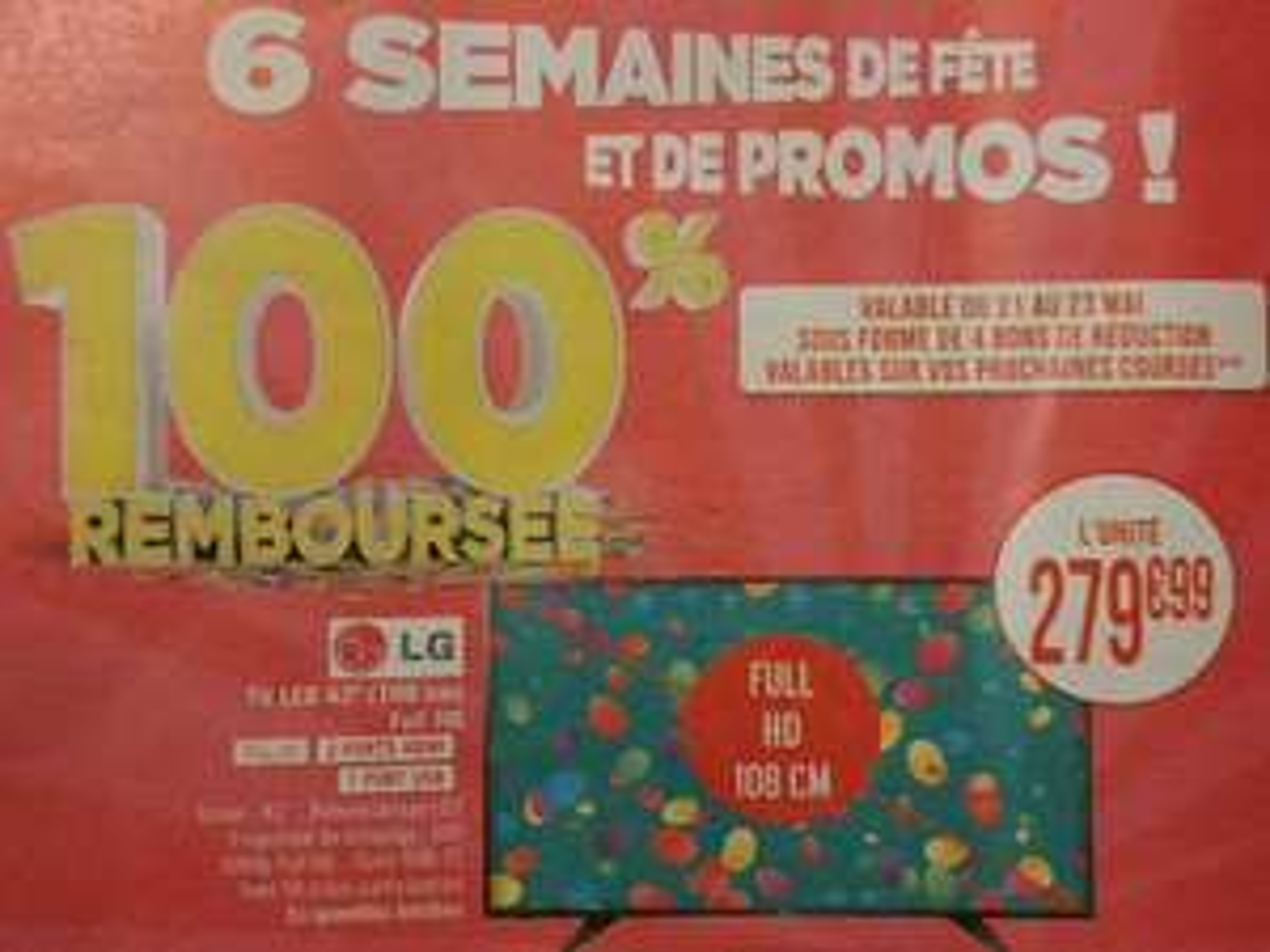 """TV 43"""" LG LED 100% remboursée en 4 bons de réduction (via 4 bons de 70€ dès 150€)"""