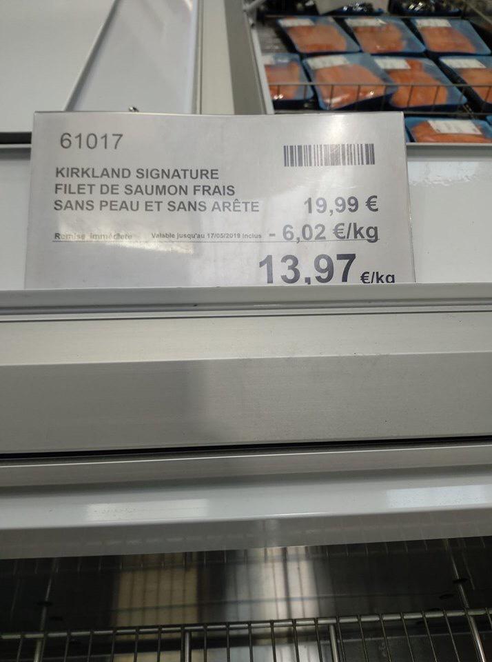 [Carte Costco] Le kg de Filet de Saumon Kirkland Signature sans peau ni arête - Villebon-sur-Yvette (91)