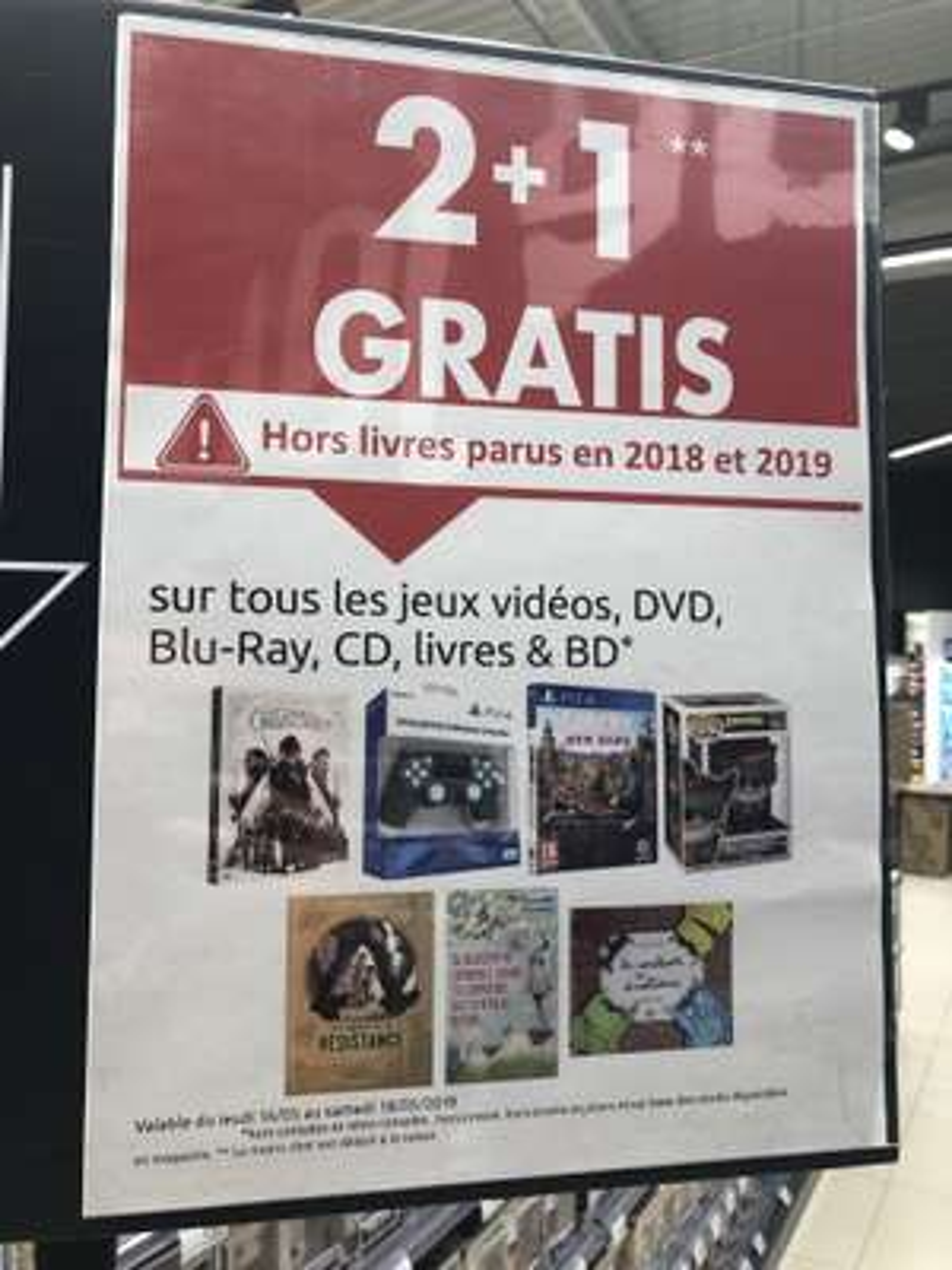 2 Jeux achetés = 1 gratuit sur le rayon Jeux Vidéos (Frontaliers Belgique - Mons)
