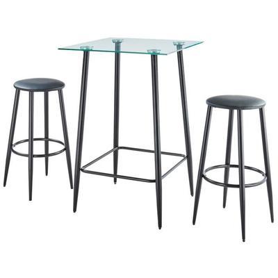 Table haute 2 à 4 personnes style industriel en métal laqué noir et verre trempé Odena  + 2 tabourets - l 70 x L 70 cm