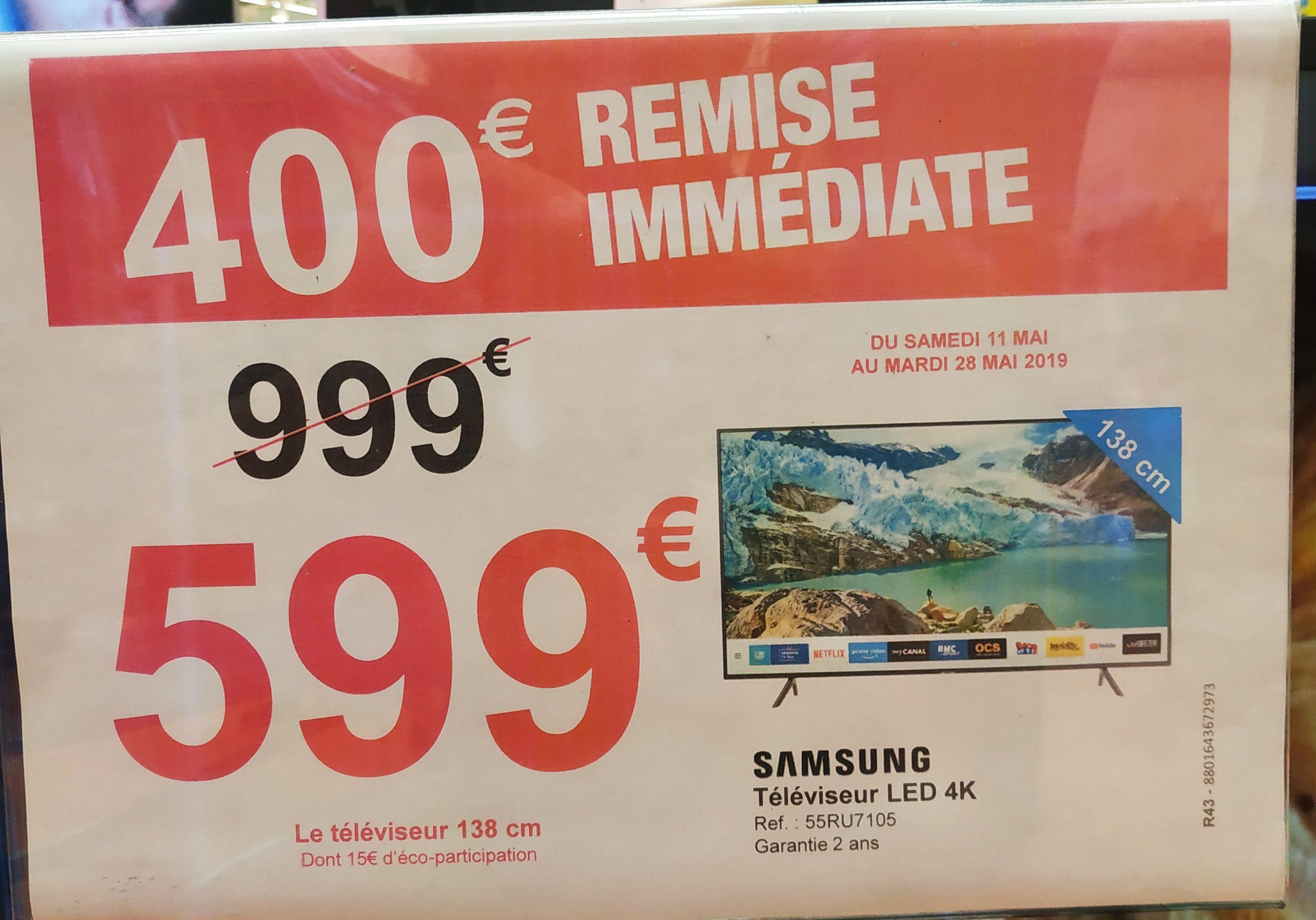 """TV 55"""" Samsung 55RU7105 (4K, HDR10+, Smart TV) - L'Isle-d'Abeau (38)"""