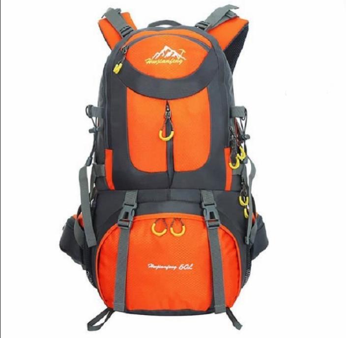 Sac de randonnée (60 L, noir / orange) + housse de pluie (entrepôt FR)