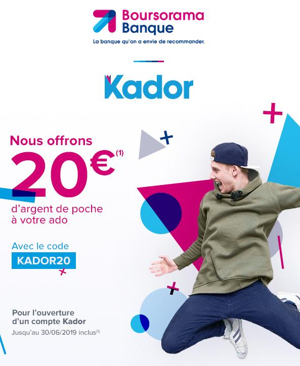 [Clients] 20 € offerts pour la création d'un compte bancaire Kador pour un enfant mineur non-client