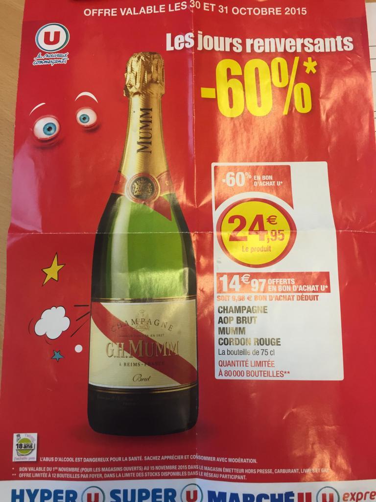 bouteille de 75 cl de champagne G.H.Mumm (14.97€ en bon d'achat)