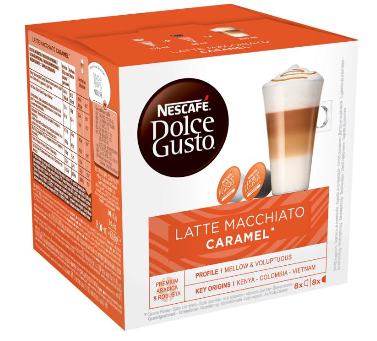 1 boîte de café Dolce Gusto achetée = 50% de réduction sur la deuxième - Ex : 2 boites de 16 Capsules de Café Dolce Gusto Macchiato Caramel