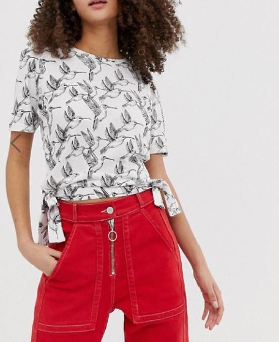 Sélection de vêtements et accessoires en promotion - Ex: Top pour femme à motif imprimé oiseau