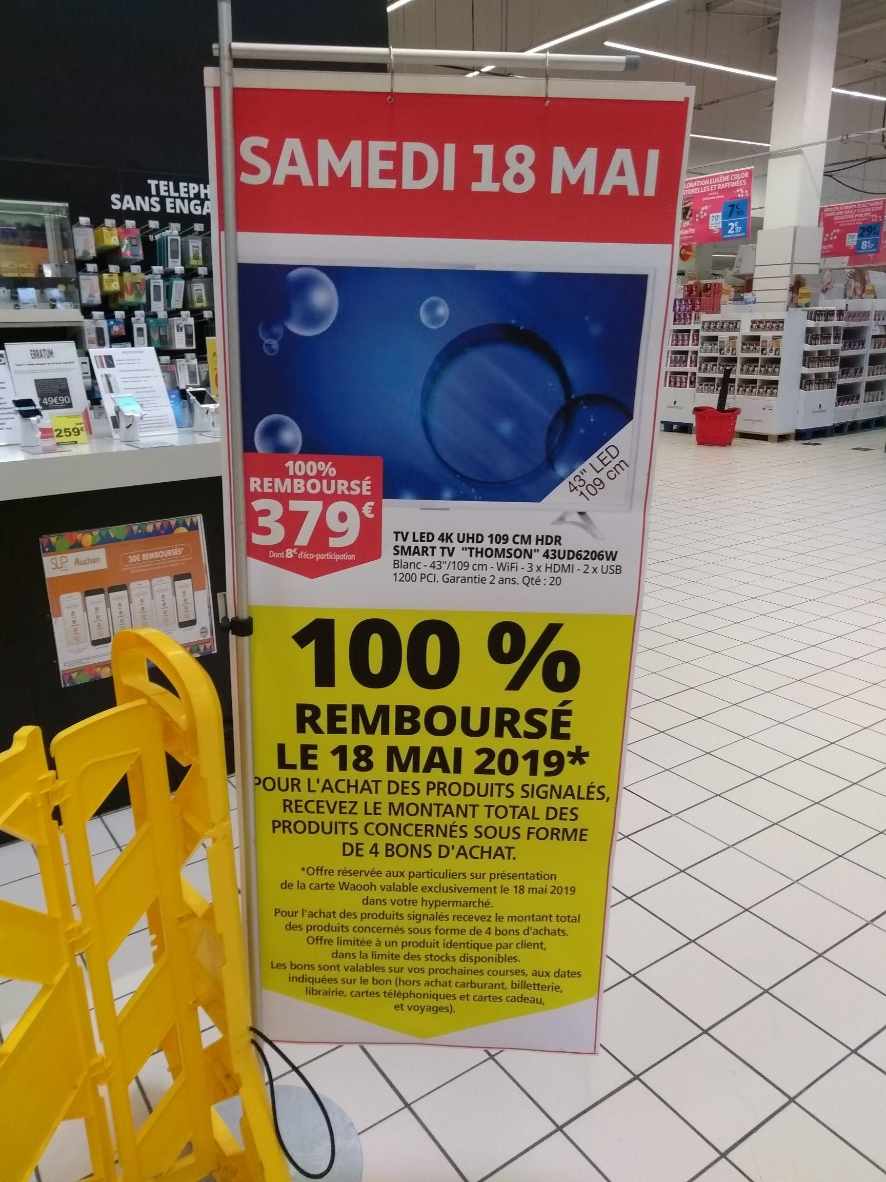 """[Carte fidélité] TV 43"""" Thomson 43UD6206W - 4H UHD, Smart TV, HDR (100% remboursé en 4 bons d'achat) - Saint-Genis-Laval (69)"""