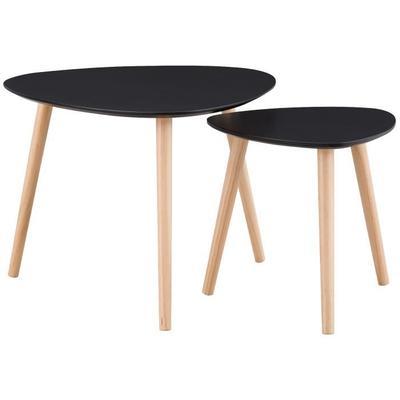 Lot de 2 tables gigognes style contemporain Alsapan Galet - noir laqué mat, 60x60 et 40x40 cm (+ éventuelle Offre Spéciale)