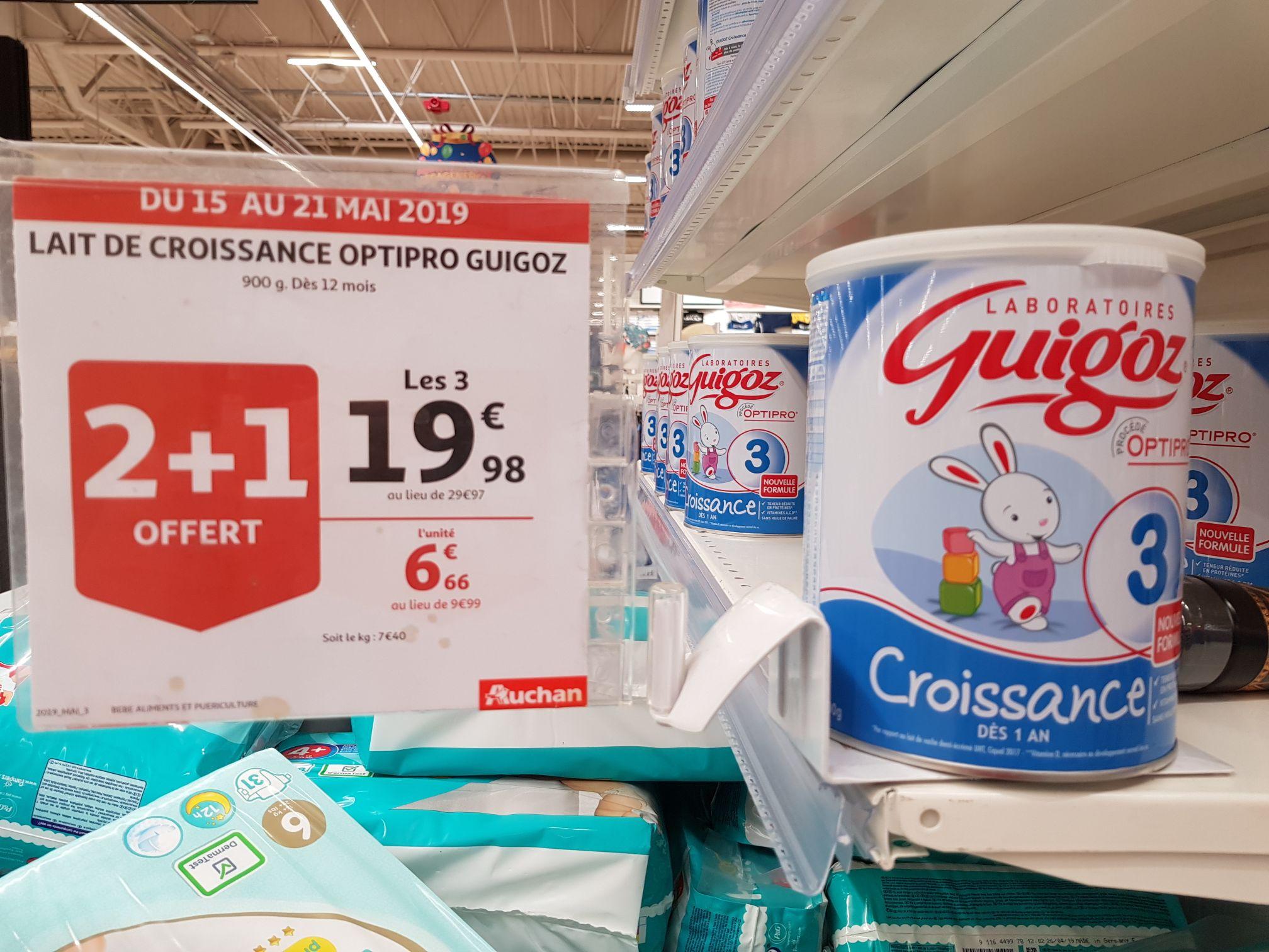 3 Boites de Lait infantile GUIGOZ Croissance 3 Optipro - Auchan